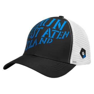 New Balance Staten Island Technical Trucker Hat, Black with Electric Blue
