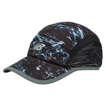 New Balance 5 Panel Performance Printed Hat, Black with White
