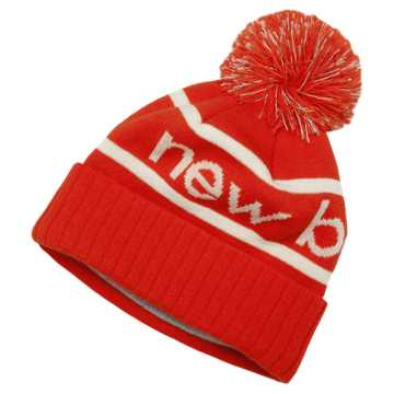 New Balance Reflective Pom Pom Beanie, Red