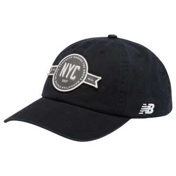 New Balance NYC Marathon 6 Panel Curved Brim Patch Cap, Black