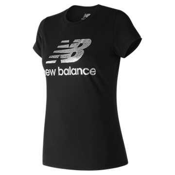 New Balance 运动T恤 女款 时尚LOGO 运动休闲, BK