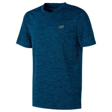 New Balance Short Sleeve Performance Tee, Electric Blue with Black