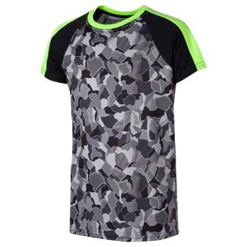 New Balance SS Printed Performance Tee, Black with Lime Glo