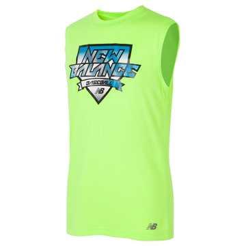 New Balance Sleeveless Athletic Graphic Tee, Lime Glo