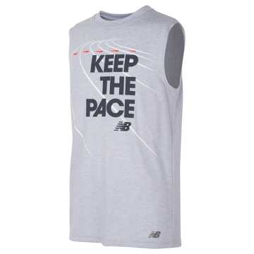 New Balance Sleeveless Athletic Graphic Tee, Silver Mink