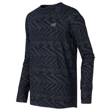 New Balance Long Sleeve Performance Tee, Thunder with Speed Glitch