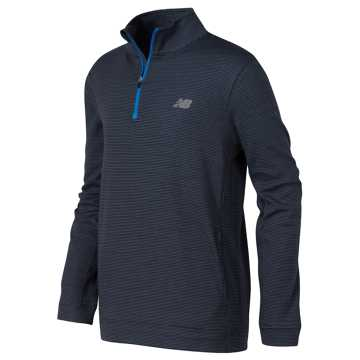 New Balance Quarter Zip Pullover, Thunder with Harbor Blue