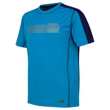 New Balance Short Sleeve Performance Tee, Maldives Blue with Black