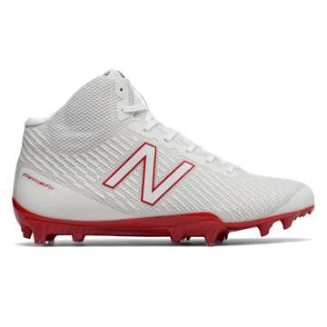 New Balance Burn X Mid-Cut, White with Red
