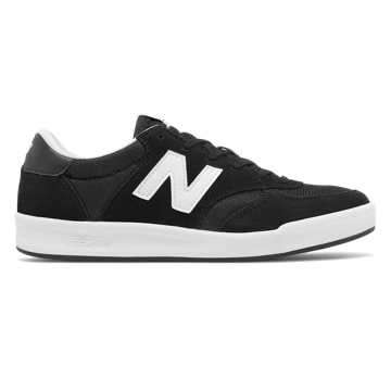 New Balance 300 Suede, Black with Plaster White
