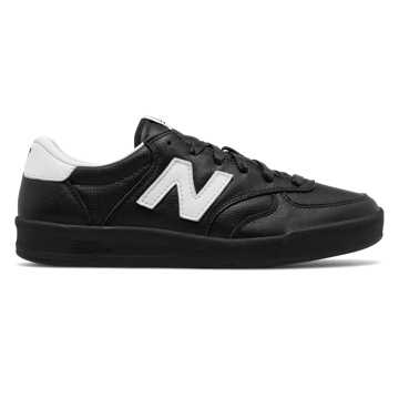 New Balance 300 Leather, Black with Silver