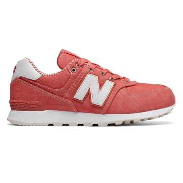 New Balance 574 Beach Chambray, Spiced Coral with White
