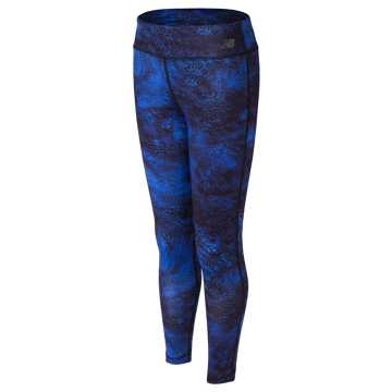 New Balance Printed Performance Tight, Majestic Blue with Black