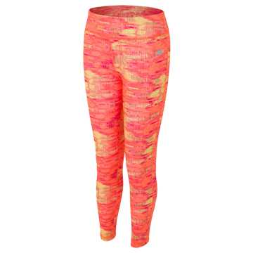 New Balance Printed Fashion Performance Tight, Vivid Tangerine