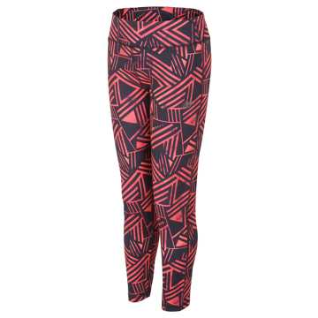 New Balance Printed Fashion Performance Tight, Black with Pink Glo