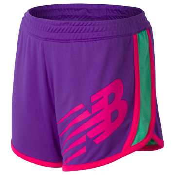 New Balance Reversible Short, Alpha Violet with Vivid Jade & Alpha Pink