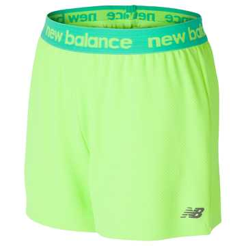 New Balance Core Performance Short, Lime Glo with Alpha Violet & Sunrise