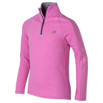 New Balance Mock Neck Pullover, Poisonberry Heather with Steel Heather