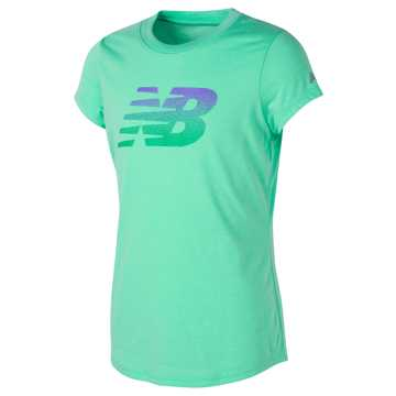 New Balance Short Sleeve Graphic Tee, Vivid Jade Heather