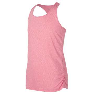 New Balance Fashion Athletic Tank, Bleached Pink with Pomegranate