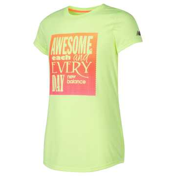 New Balance Short Sleeve Graphic Tee, Bleached Lime Glo