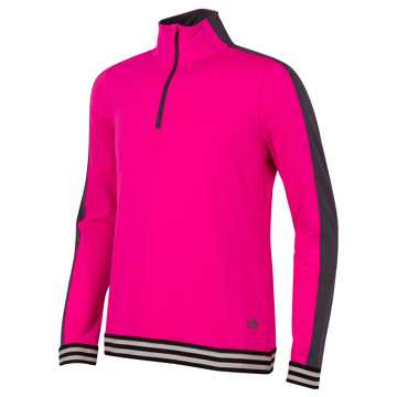 New Balance Long Sleeve Quarter Zip Performance Top, Pink Glo