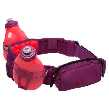 New Balance Helium H20 2 Bottle Hydration Belt, Bright Cherry with Jewel