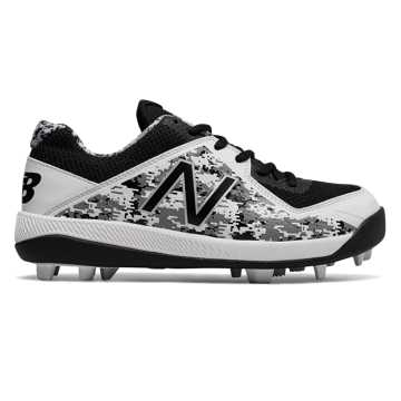 New Balance Junior 4040v4 Rubber Molded Pedroia, Black with White