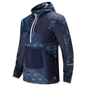 New Balance J.Crew Windcheater Packable Printed Anorak, Dark Navy