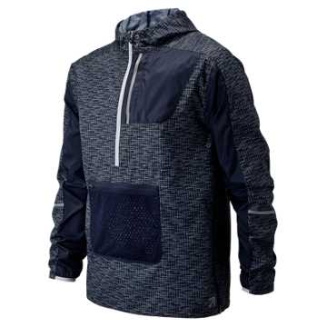 New Balance J.Crew Windcheater Packable Printed Anorak, Navy