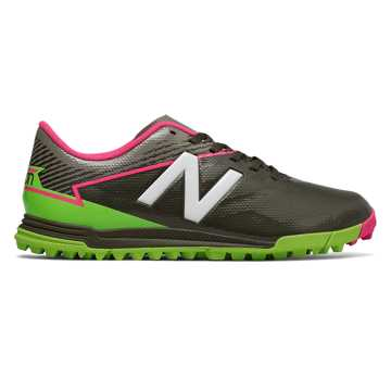 New Balance Junior Furon 3.0 Dispatch TF, Military Dark Triumph with Alpha Pink & Energy Lime