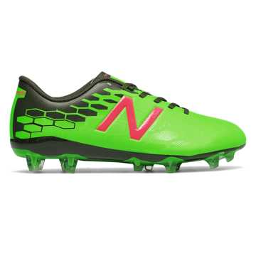 New Balance Junior Visaro 2.0 Control FG, Energy Lime with Military Dark Triumph & Alpha Pink