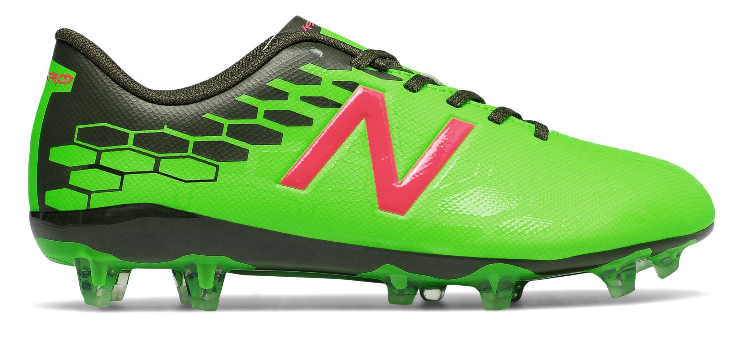 NB Junior Visaro 2.0 Control FG, Energy Lime with Military Dark Triumph & Alpha Pink