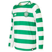 NB Celtic FC Home Junior Long Sleeve Jersey - No Sponsor, White with Celtic Green
