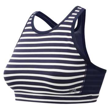 New Balance J.Crew Premium Performance Intensity Bra, Navy Stripe with White