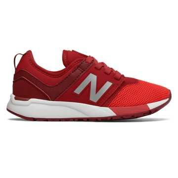 New Balance 全新247系列 中童款 网眼鞋面 一脚套式  橡胶大底, 红色
