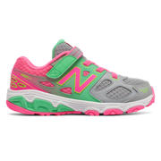 New Balance Hook and Loop 680v3, Grey with Pink Glo & Lime Glo