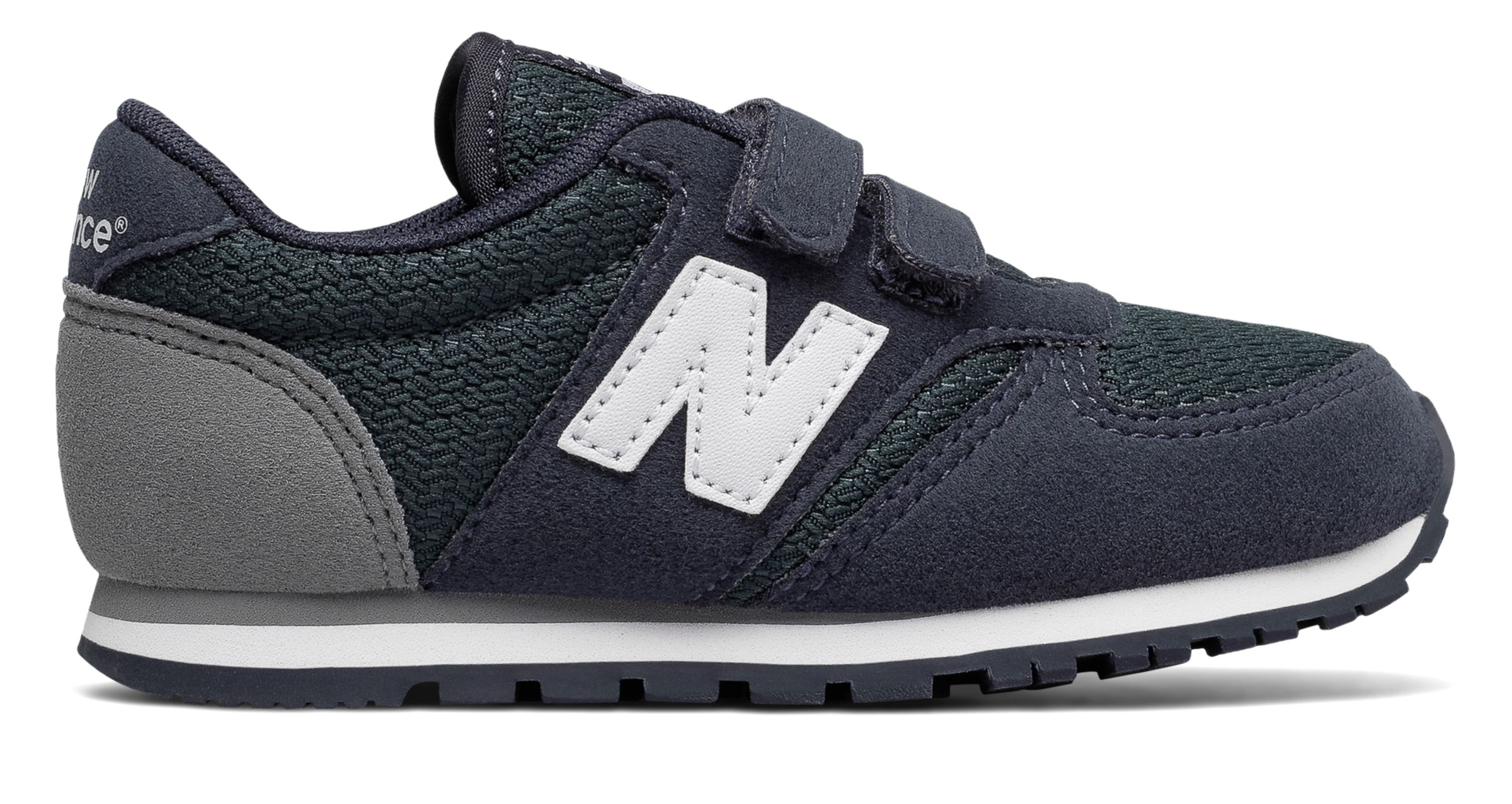 NB 420 Hook and Loop, Navy with White