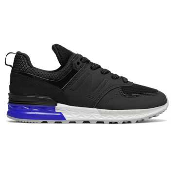 New Balance 574 Sport, Black with Blue & White