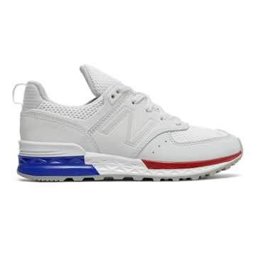 New Balance 574 Sport, White with Blue & Red