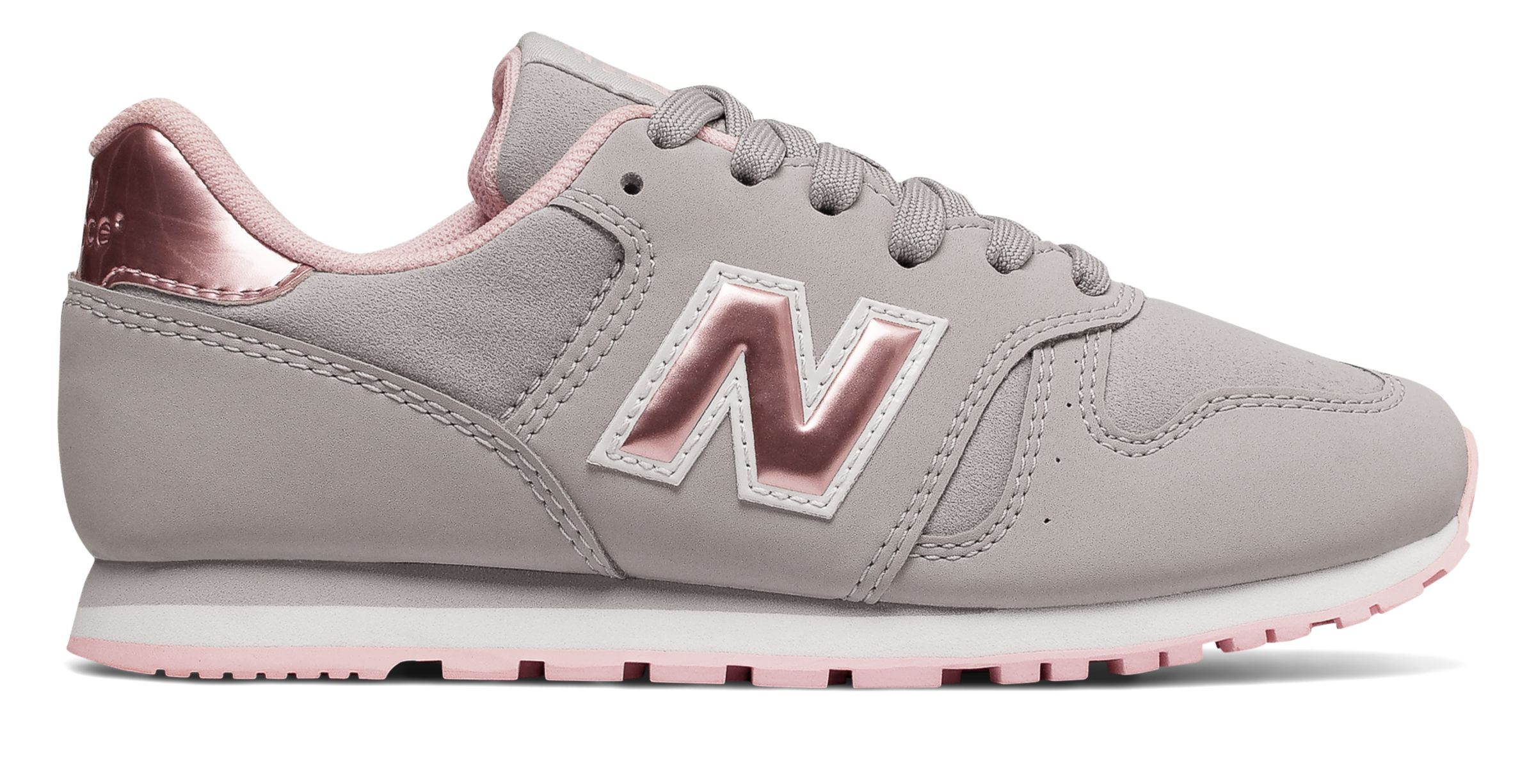 NB New Balance 373, Grey with Rose Gold