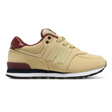 New Balance 574 Paint Chip, Tan with Burgundy