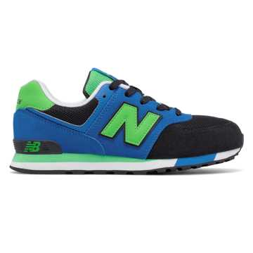 New Balance 574 Cut and Paste, Black with Blue & Acidic Green
