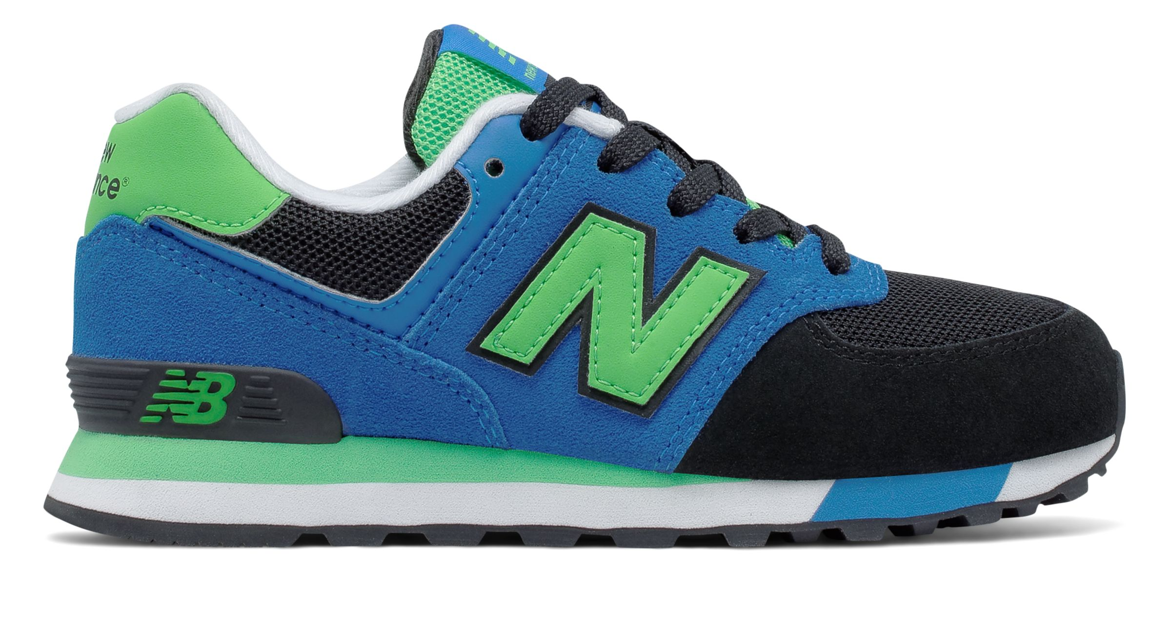 NB 574 Cut and Paste, Black with Blue & Acidic Green