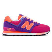NB 574 Cut and Paste, Pink Zing with Purple & Orange