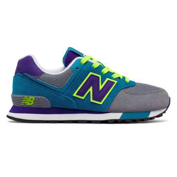 New Balance 574 Cut and Paste, Grey with Teal & Purple