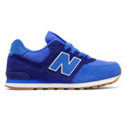NB 574 Leather Mesh, Marine Blue with Light Blue