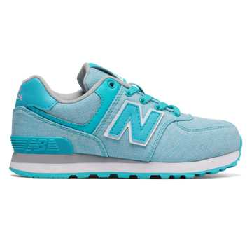 New Balance 574 Leisure, Aquamarine with White