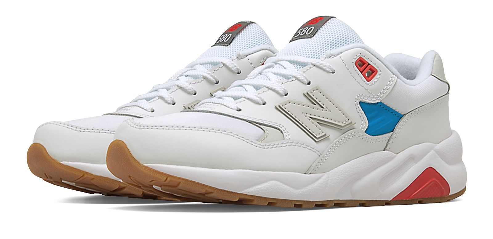 NB 580 New Balance, White with Bolt & Red