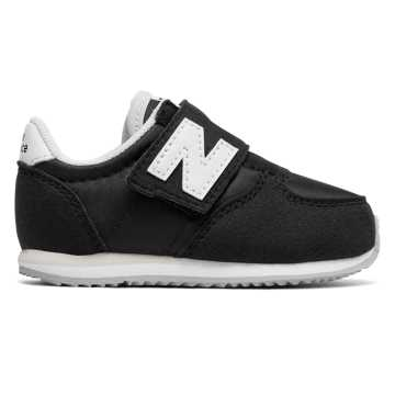 New Balance 220 Hook and Loop, Black with White